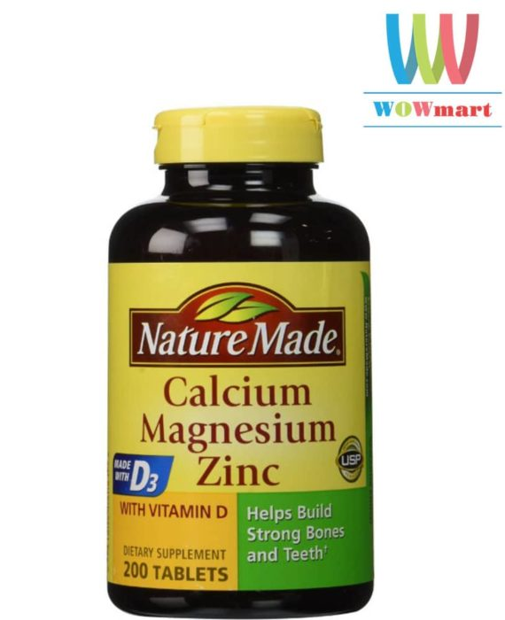 Thuốc bổ tăng cường Canxi, Magie và Kẽm Nature Made® Calcium Magnesium Zinc 200 viên
