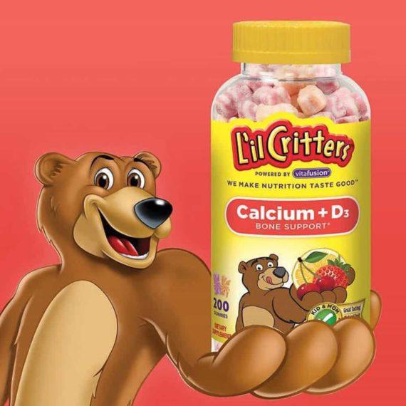 Kẹo dẻo dành cho trẻ em L'il Critter Calcium +D3 Gummy Bears 200 viên