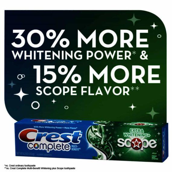 Lốc 5 hộp kem đánh răng Crest Complete Extra Whitening Scope 232g x5