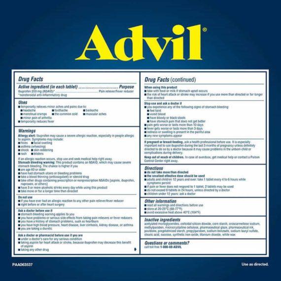 Viên uống giảm đau hạ sốt Advil Ibuprofen 200mg 360 viên