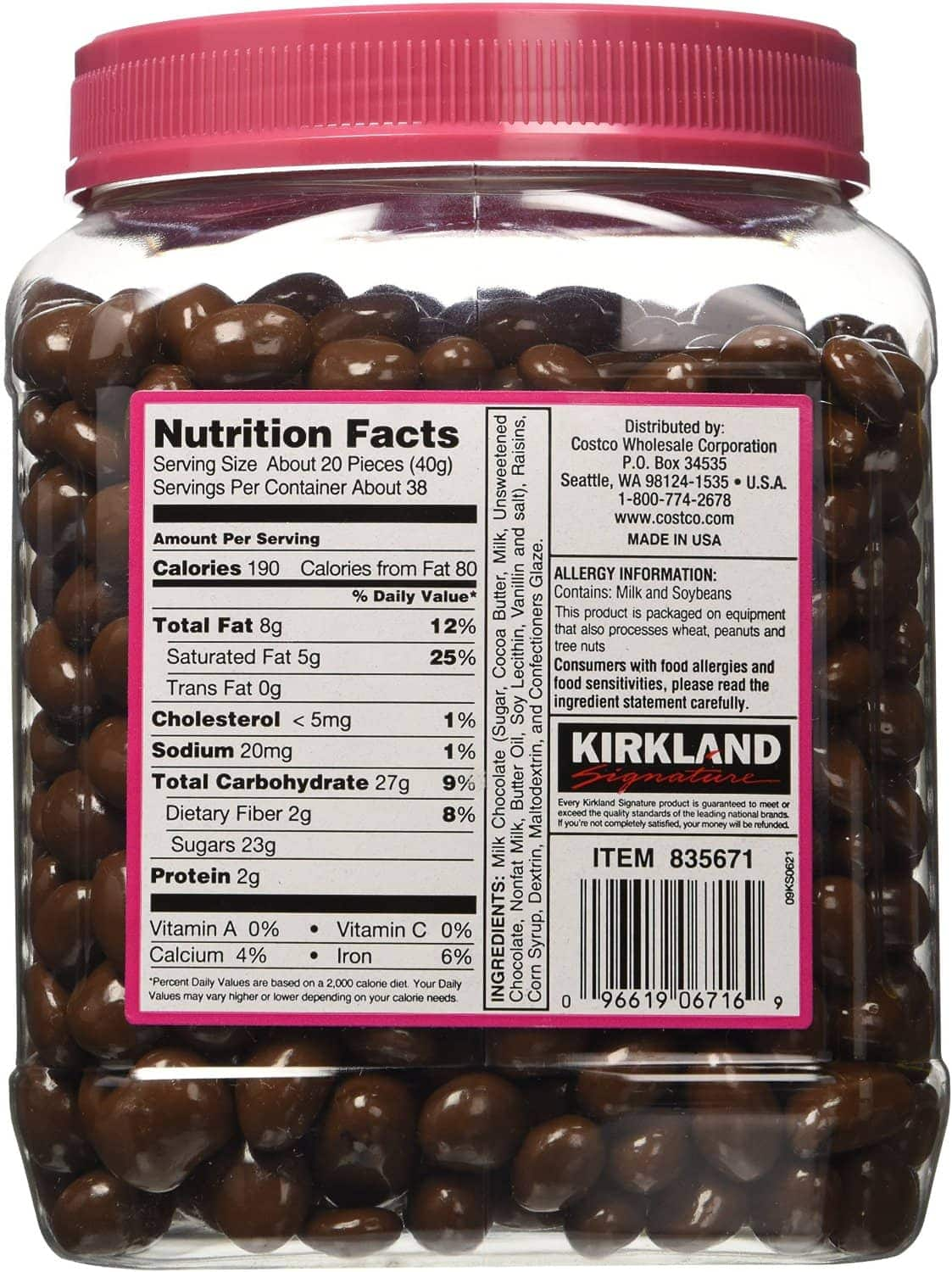 Kirkland Signature Milk Chocolate Raisins, 54 oz.
