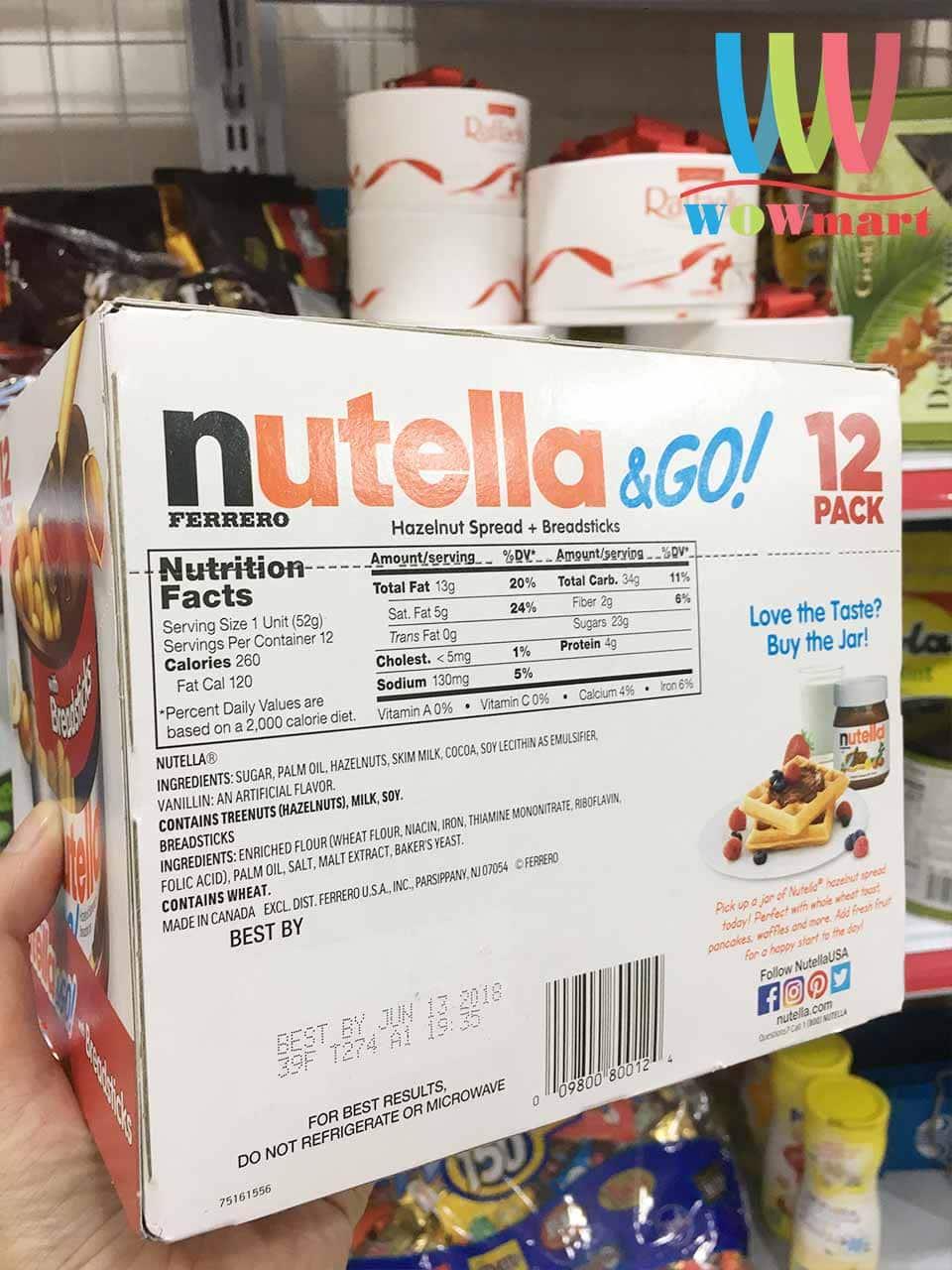 Bánh que chấm chocolate Nutella & Go Hazelnut Spread with Breadsticks 624g  (Loại 12 gói) - Wowmart VN | 100% hàng ngoại nhập