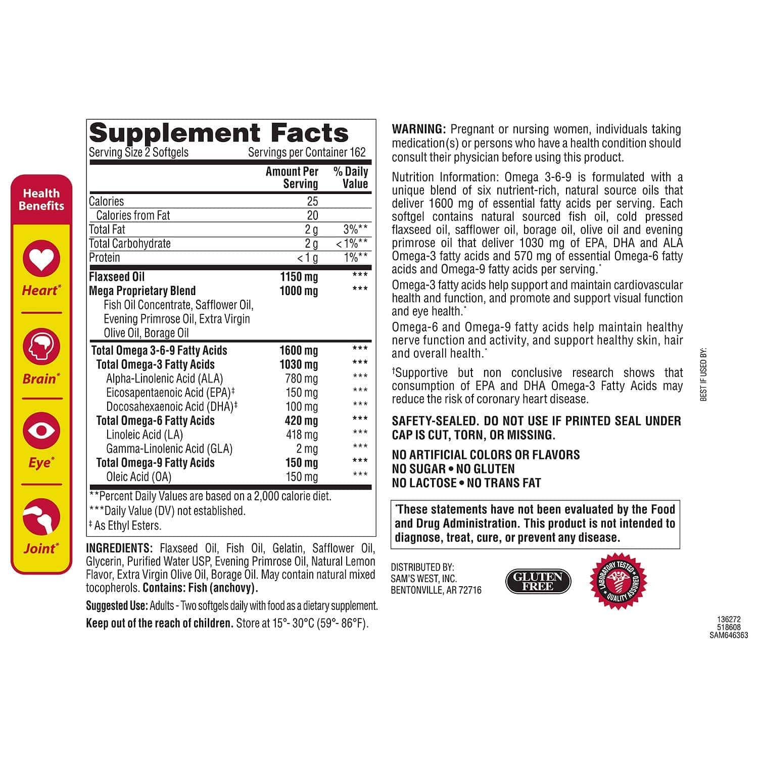 Omega 3 6 9 Member's Mark Supplement Fact