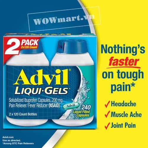 Giới thiệu sản phẩm Advil Liqui-Gels 240 viên