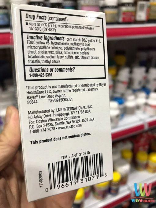 thuoc giam dau kirkland signature low dose aspirin 81 mg 365v3054
