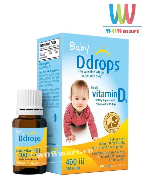 Thuốc nhỏ mắt Baby Drops D3 400IU của Mỹ dành cho bé sơ sinh