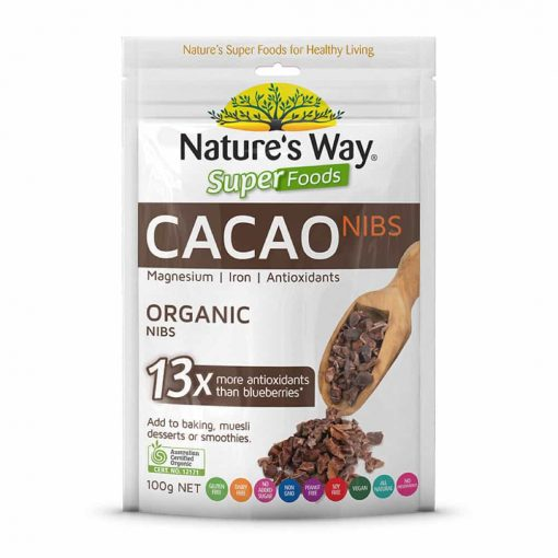 Bột Ca Cao Hữu Cơ Nature's Way Superfood CaCao NIBS 100g