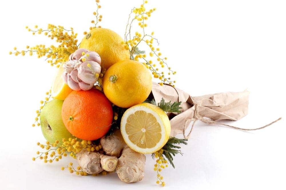 bouquet on a gift from lemons of ginger and garlic ss