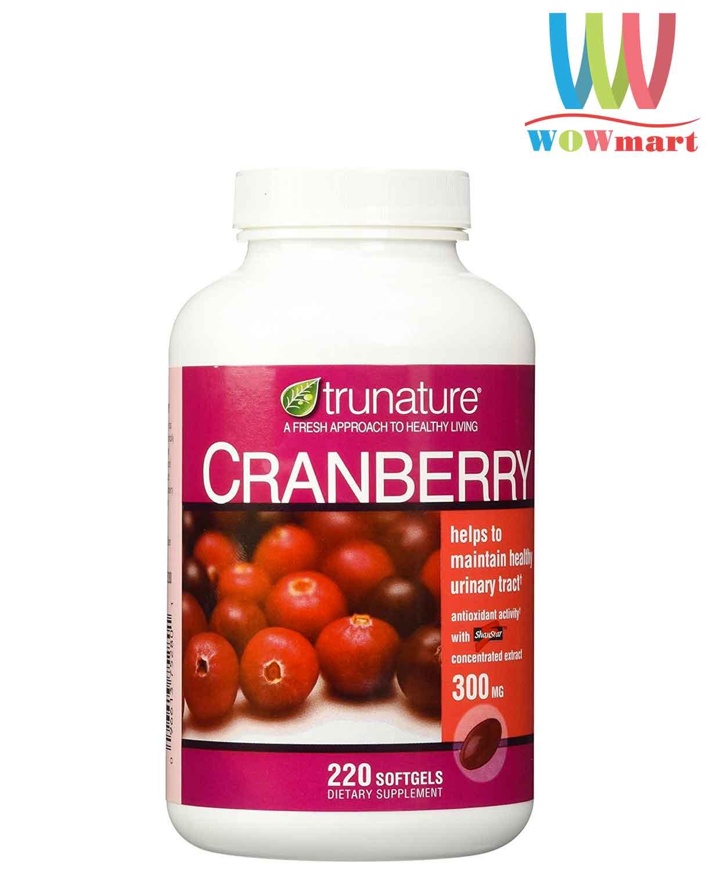 Hỗ trợ đường tiết niệu và chống oxy hóa trunature Cranberry 300mg 250 viên