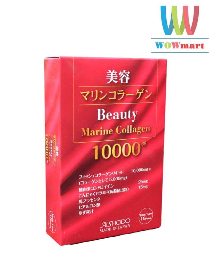 Ngăn ngừa nếp nhăn từ bột uống Beauty Marine Collagen 10.000mg 15 gói