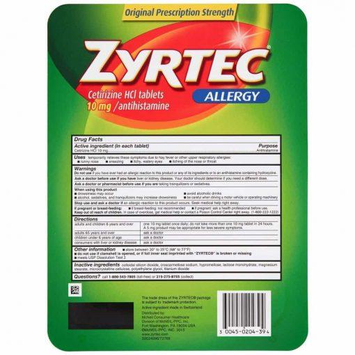 Viên chống dị ứng Zyrtec Allergy 10mg 100 viên