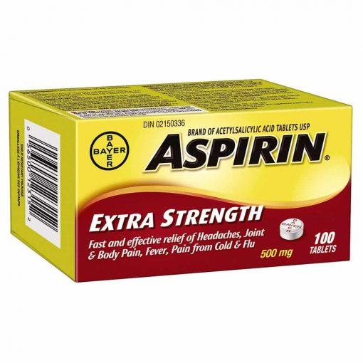 Thuốc giảm đau Bayer Aspirin Extra Strength 500mg 100 viên