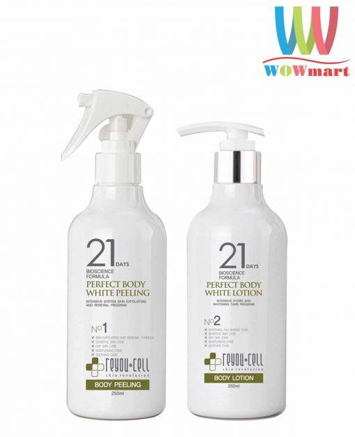 bo-doi-duong-trang-toan-reyou-cell-21-days-perfect-body-white-peeling-lotion-250ml-x2