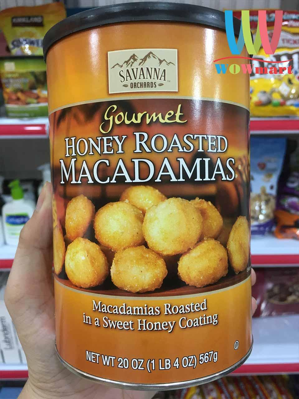 Hạt mắc ca tẩm mật ong Savanna Gourmet Honey Roasted Macadamias 567g