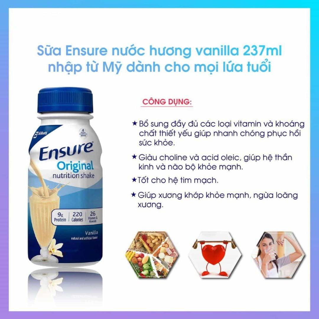 Sữa Ensure Plus nước Ensure Plus Nutrition Vanilla Shake 237ml x30