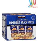 Bánh Snack rang muối Kirkland Signature Mixed Nuts Snack Packs 953g của Mỹ