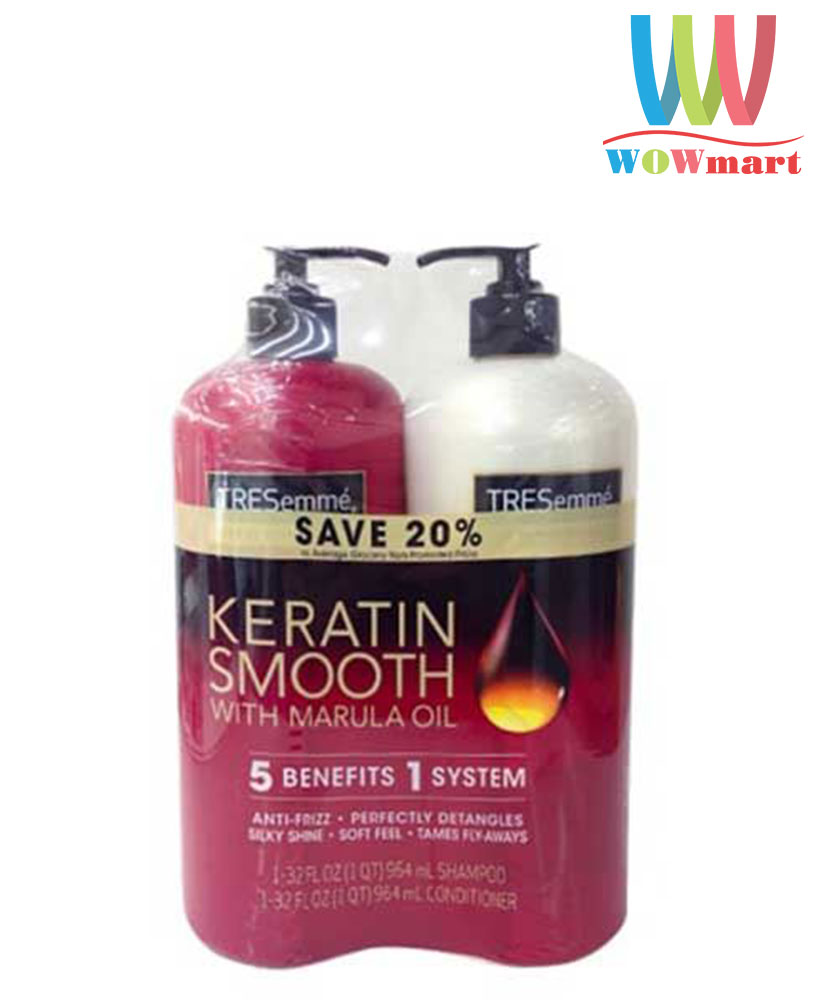 Bộ đôi dầu gội xả Tresemme Keratin Smooth With Marula Oil Shampoo & Conditioner 2 chai x 964 ml
