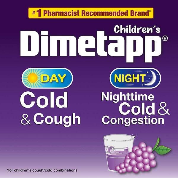 Siro trị cảm cúm, ho cho trẻ em Dimetapp Children's Cold & Cough Day & Night 118ml x 3 chai