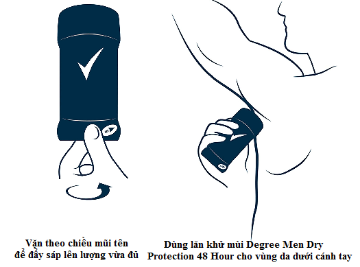 Lăn khử mùi Degree Men Dry Protection Cool Rush 48 Hour Antiperspirant 76g