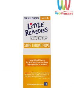 Kẹo ngậm trị ho cho trẻ Little Remedies Sore Throat Pops (10 cây)