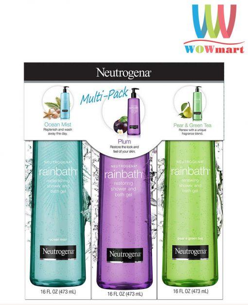 Bộ sữa tắm Neutrogena Rainbath Collection Shower And Bath Gel 473ml x 3 chai