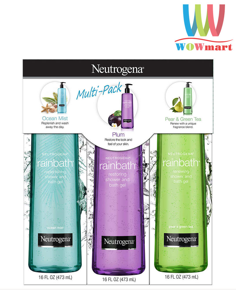 Bộ sữa tắm Neutrogena Rainbath Collection Shower And Bath Gel 473ml x 3 chai