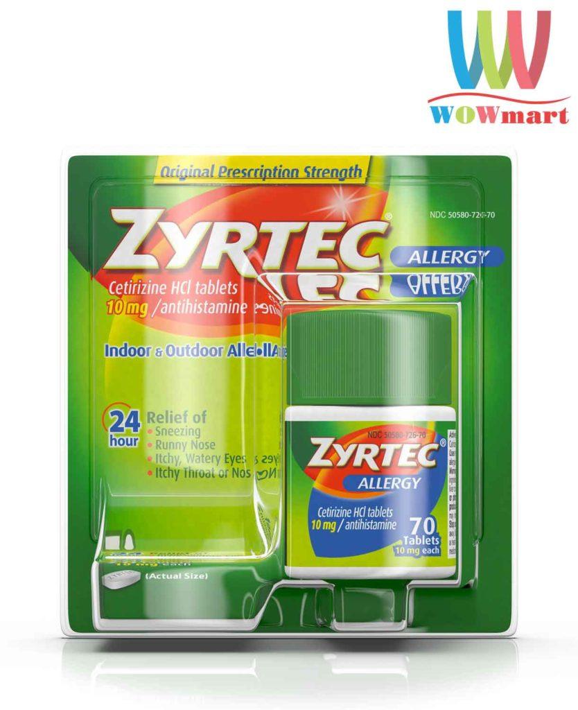 Thuốc chống dị ứng Zyrtec Allergy 10mg 70 viên