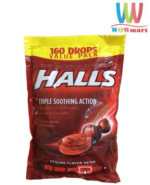 Kẹo-Halls-trị-ho,-thông-cổ-Halls-Triple-Soothing-Action-Cherry-Flavor-160-viên