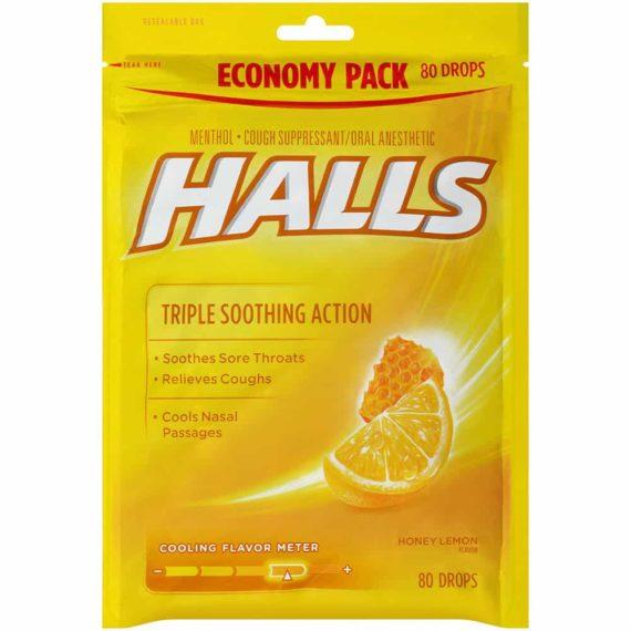 Kẹo Halls trị ho, thông cổ Halls Triple Soothing Action Honey Lemon 160 viên