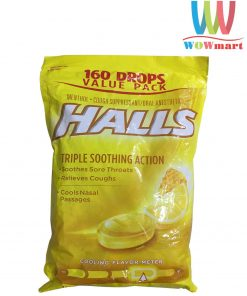 keo-halls-tri-ho-thong-co-halls-triple-soothing-action-honey-lemon-160-vien