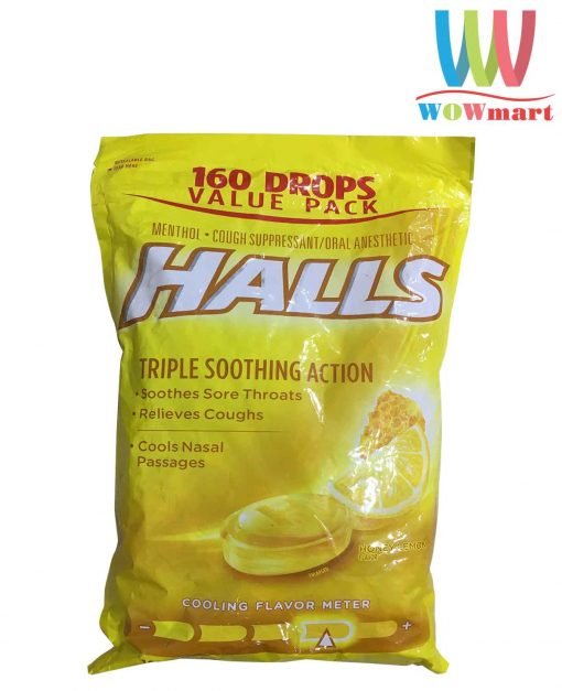 keo-halls-tri-ho-thong-co-halls-triple-soothing-action-honey-lemon-160-vien