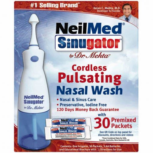 Máy xịt rửa mũi NeilMed Sinugator kèm 30 gói muối