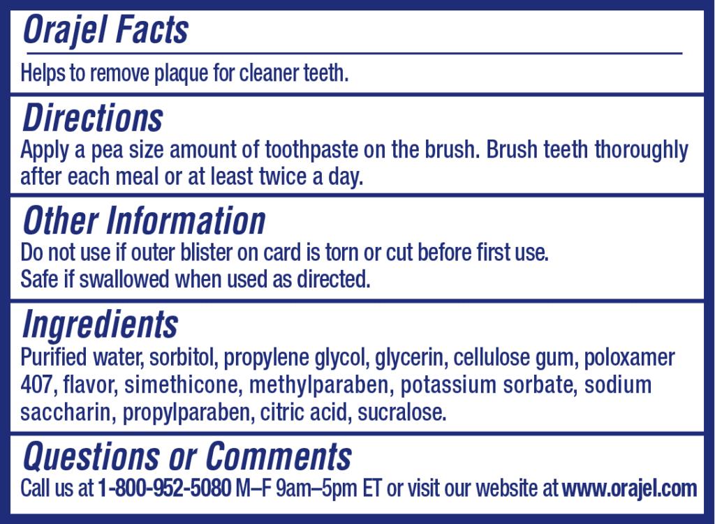 Bàn chải tập đánh răng cho bé Orajel Training Toothpaste kèm ống kem Orajel 28.3g
