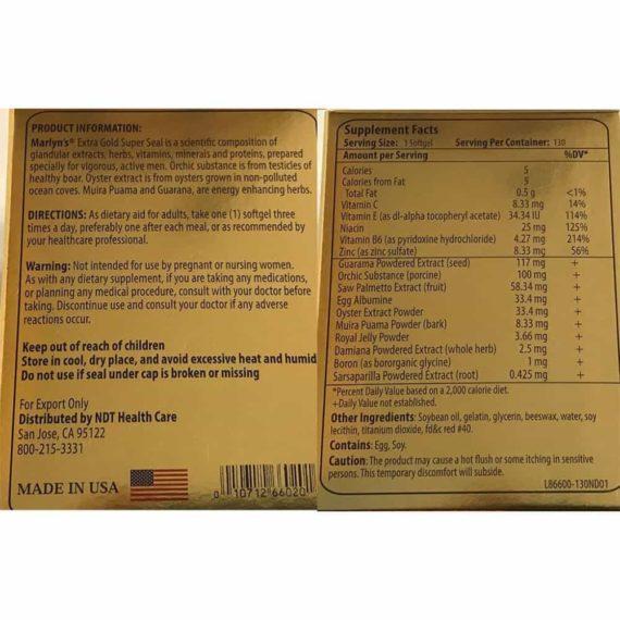 Hải cẩu hoàn bổ thận tráng dương của Mỹ Marlyn Extra Gold Super Seal 130 Softgels