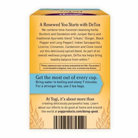 Trà thanh lọc giải độc cơ thể Yogi Detox 16 gói x29g