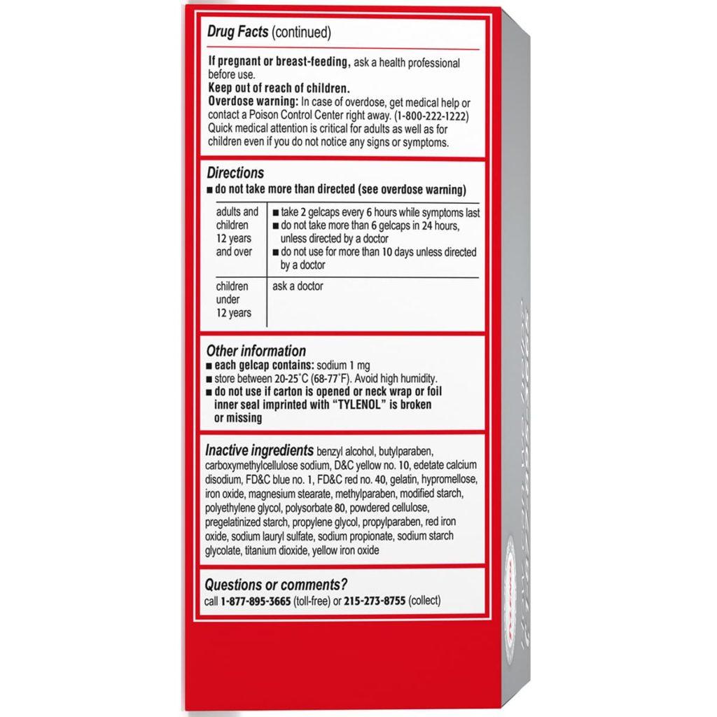 Thuốc giảm đau hạ sốt Tylenol Extra Strength Rapid Release Gels 500mg 225 viên