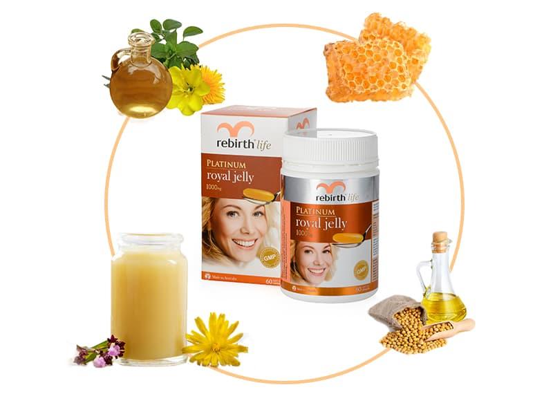 Sữa ong chúa Úc Rebirth Life Platinum Royal Jelly 1000mg 60 viên