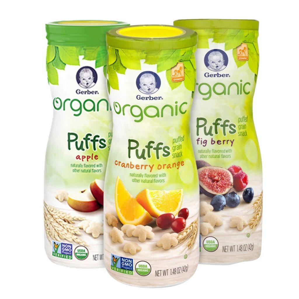 Bánh ăn dặm Gerber Organic Puffs Apple 42g