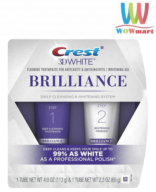 bo doi kem danh rang crest 3d white brilliance 2 step toothpaste 113g 65g