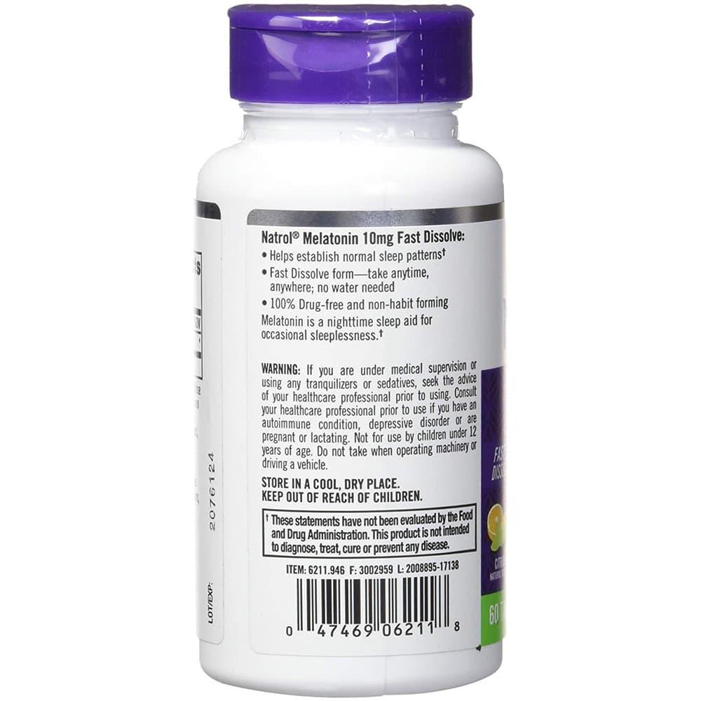 Viên ngậm giúp ngủ ngon Natrol Melatonin Sleep Drug-Free 10mg 60 viên