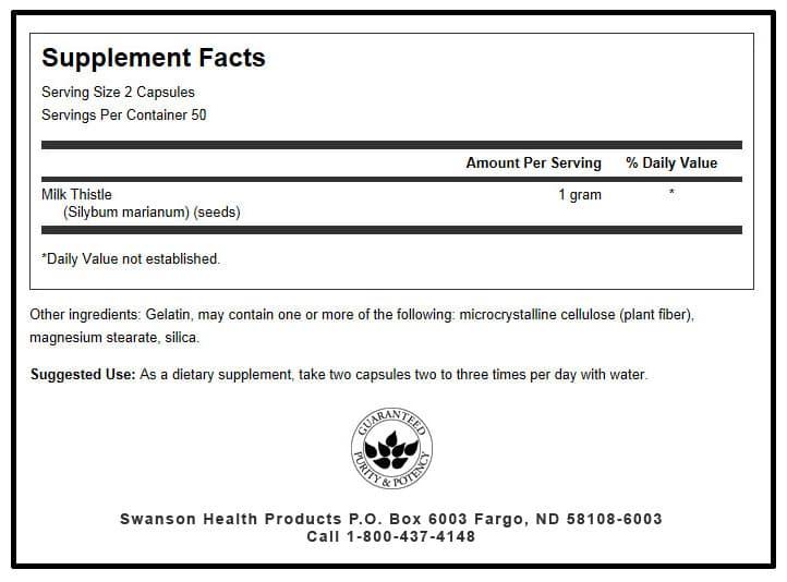Viên uống giải độc gan Swanson Milk Thistle 1000mg 100 Capsules