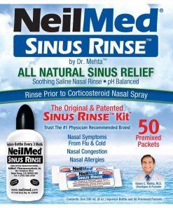 Bộ sản phẩm nước muối rửa mũi (nước muối sinh lý) Neilmed Sinus Rinse 50 gói