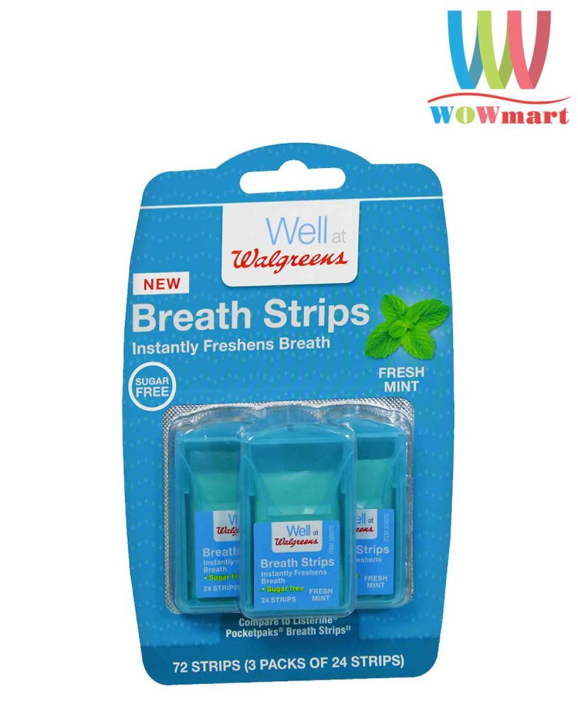 Miếng ngậm thơm miệng Well at Walgreens Breath Strips Sugar Free 72 miếng