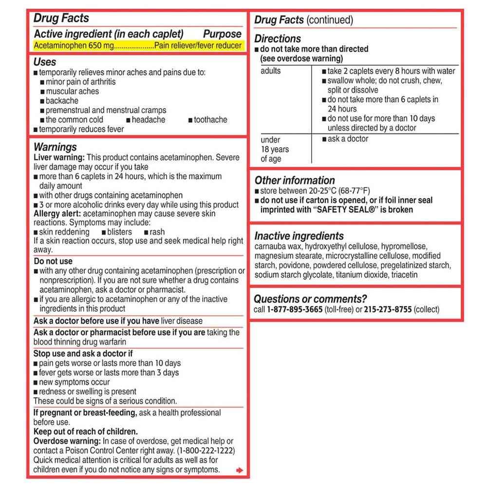 VIÊN UỐNG GIẢM ĐAU HẠ SỐT TYLENOL 8HR ARTHRITIS PAIN 650MG 290 VIÊN