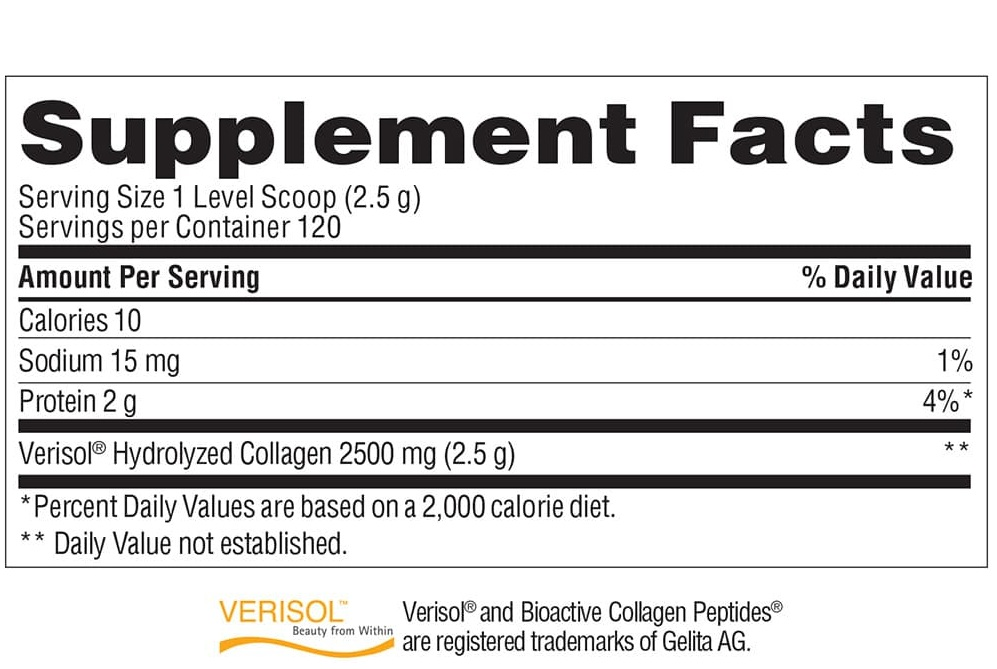 Bột uống Collagen đẹp da Trunature Verisol Collagen Powder 2500mg hủ 300g