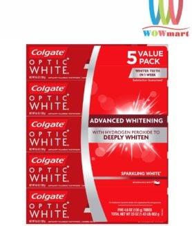 Lốc 5 hộp kem đánh răng Colgate Optic White 130g của Mỹ
