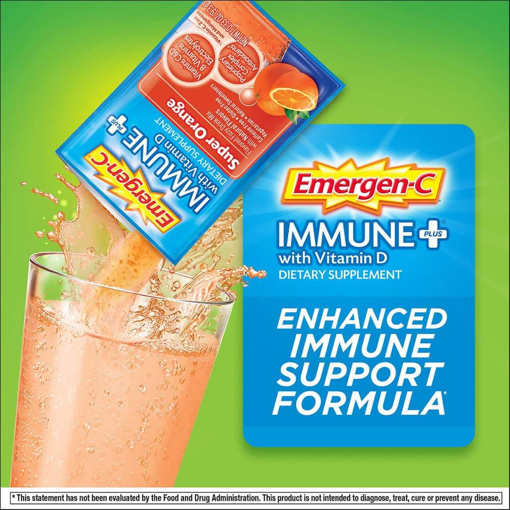 Bột sủi C tăng đề kháng Emergen-C Immune Plus Vitamin D 70 gói
