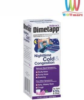 Siro trị cảm cúm, ho cho trẻ em Dimetapp Children's Nighttime Cold & Congestion 118ml