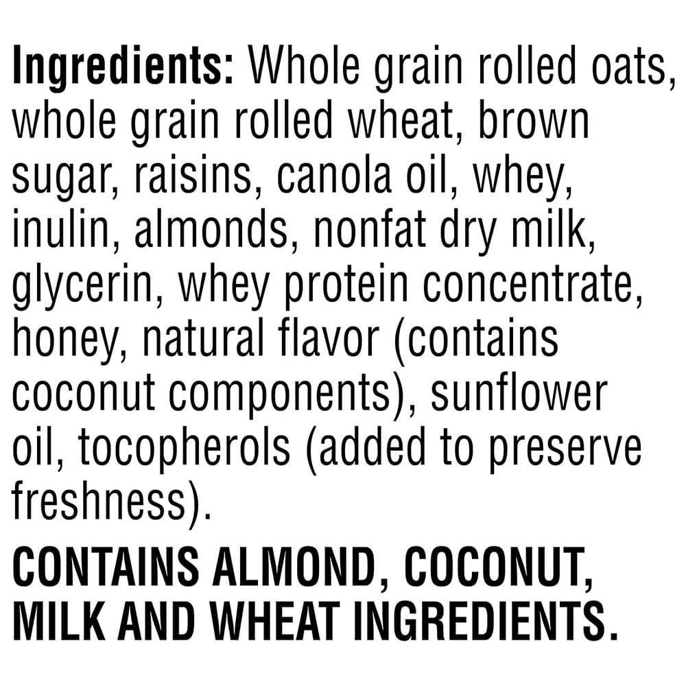Yến mạch nho khô hạnh nhân Quaker Natural Granola Oats Honey Raisins Almonds 1.95kg