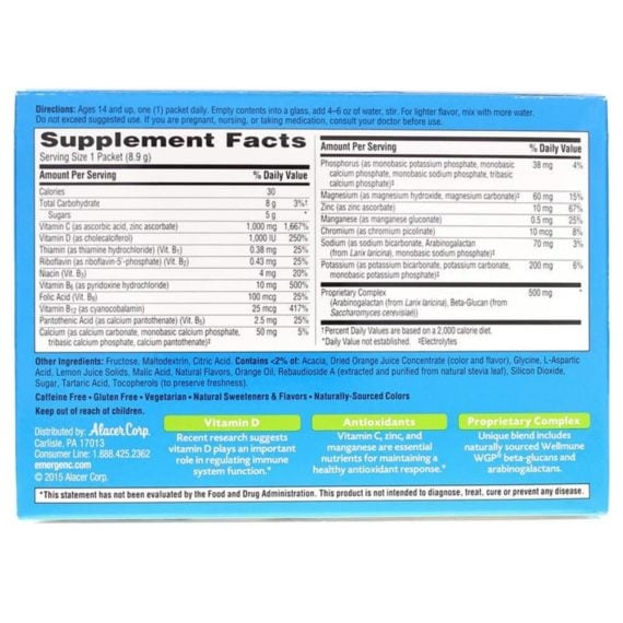 Bột sủi C tăng đề kháng Emergen-C Immune Plus Citrus 30 gói